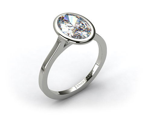 14k White Gold Bezel Solitaire Engagement Ring (Oval Center)